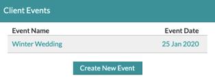 Create new event button