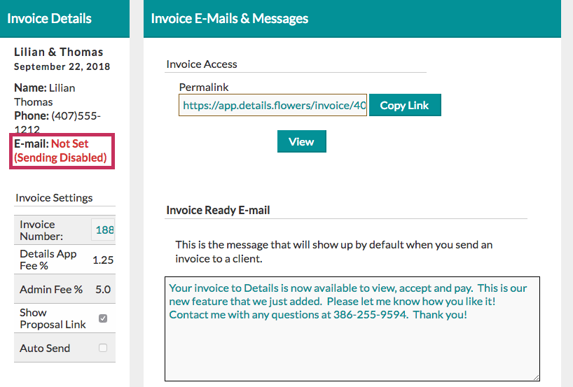 Sending invoice disabled
